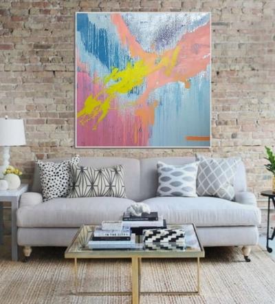 Картина маслом абстракция «Смесь моих желаний» в современном интерьере
