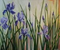 Абстрактные картины цветы ирисы «Краски весны. Ирисы» купить живопись Киев