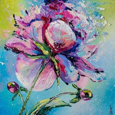 Картина маслом цветы «Ирис» купить живопись для современных интерьеров Киев