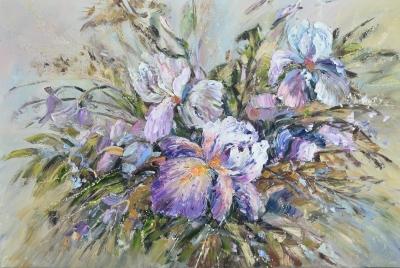 Картина маслом цветы «Ирисовый восторг» купить современную живопись Киев