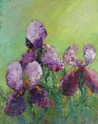 Картина «Ирисы. Яркие краски весны...»