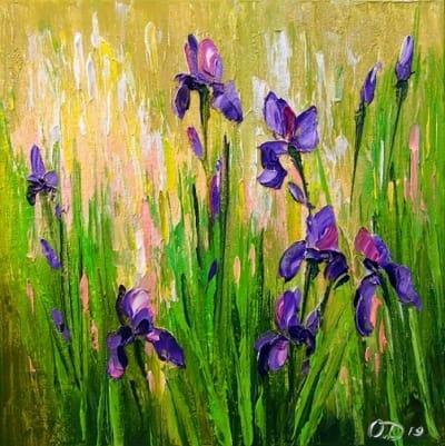 Картина маслом цветы «Ирисы» купить живопись для современных интерьеров Украина