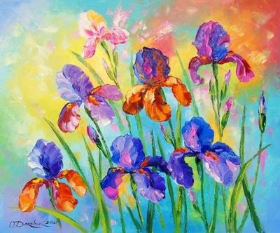 Картина с цветами «Ирисы» купить живопись для современных интерьеров Украина