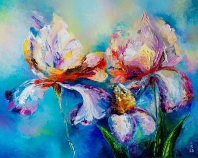 Картина маслом с цветами «Ирисы» купить живопись для современных интерьеров Украина