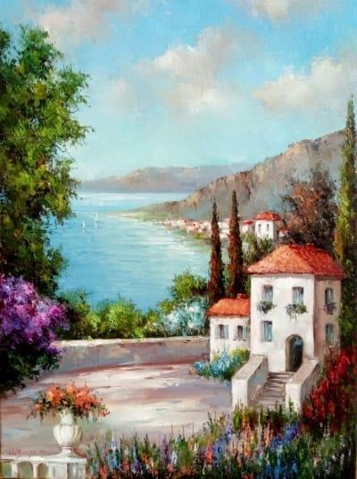 Картина маслом летний пейзаж «Итальянский пейзаж» купить картины для современных интерьеров Украина