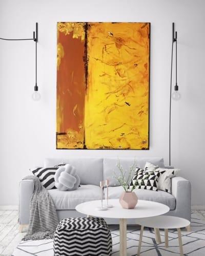 Картина абстракция для современного интерьера «Жара» купить живопись Киев