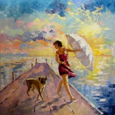 Картина маслом море «Жаркий день» купить живопись для современных интерьеров Украина