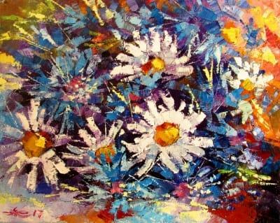 Картина маслом цветы «Жаркое лето» - живопись для современных интерьеров Украина