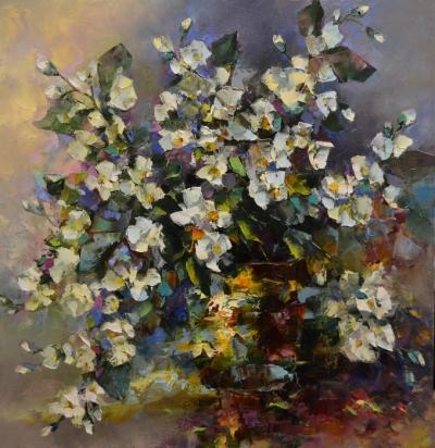 Картина цветы «Жасмин» купить живопись для современных интерьеров Украина
