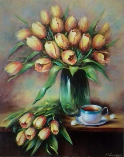 Картина «Аромат весны. Желтые тюльпаны» - картины для современных интерьеров Украина - живопись цветы