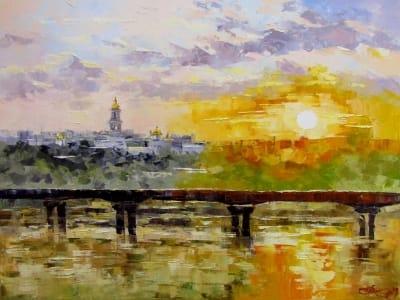 Картина маслом киевский пейзаж «Желтое солнце» купить живопись для современных интерьеров Украина