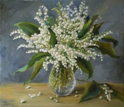 Картина цветы «Жемчужинки леса» купить живопись для современных интерьеров Украина