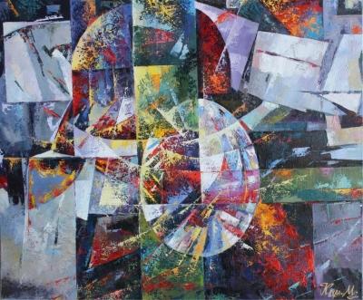 Картина маслом абстракция «Жизнь» живопись для современных интерьеров Украина