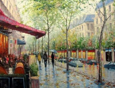 Картина маслом пейзаж «Кафе на проспекте» купить современную живопись Украина