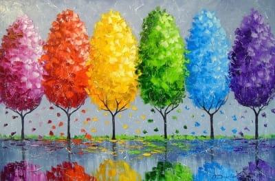 Картина маслом «Каждое дерево индивидуально» купить живопись для современных интерьеров Украина