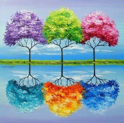 Абстрактная картина «Каждое дерево имеет свой запах» купить живопись для современных интерьеров Украина