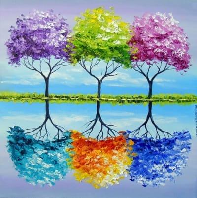 Абстрактная картина «Каждое дерево имеет свой запах» купить живопись для современных интерьеров Киев