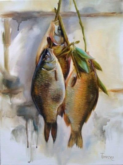 Картина «Караси» - живопись для современных интерьеров