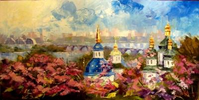 Картина маслом киевский пейзаж «Киевская весна» купить живопись для современных интерьеров Украина