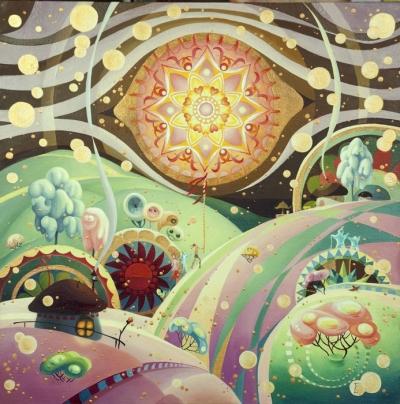 Картина детям сказочный пейзаж «Коляда» купить живопись для детской комнаты Киев