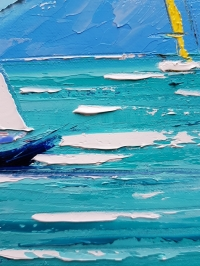 Картина маслом морской пейзаж «Кораблики» купить живопись для современных интерьеров Киев