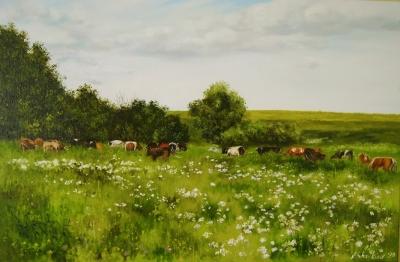 Картина пейзаж «На выгоне» купить живопись для современных интерьеров Украина