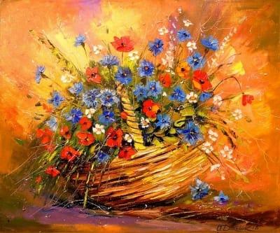 Картина маслом «Корзина с цветами» - живопись для современных интерьеров Украина
