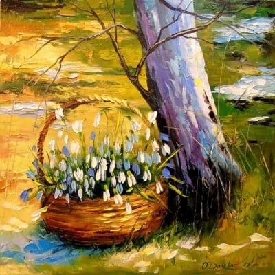 Картина маслом «Корзинка подснежников» - живопись для современных интерьеров Украина