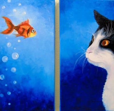 Картина «Кот и рыбка»