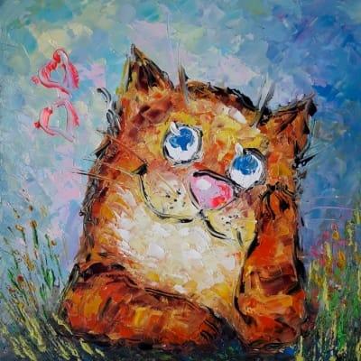 Картина маслом «Кот. Романтическое настроение» - современная живопись Украина
