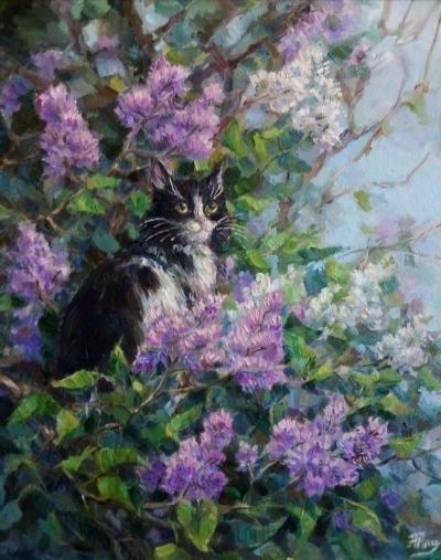 Картина маслом цветы «Кот в сирени» купить современную живопись Киев