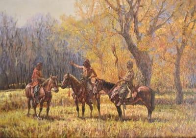 Картина маслом исторический пейзаж «Козацкий дозор» купить живопись для современных интерьеров Киев