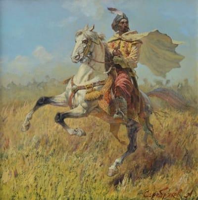 Картина маслом историческая тематика «Козацкий полковник Иван Богун» купить живопись для современных интерьеров Киев