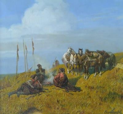 Картина маслом исторический пейзаж «Козаки на привале» купить живопись для современных интерьеров Киев