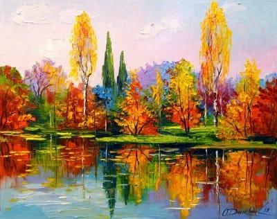 Картина маслом осень «Красивая пора» купить живопись для современных интерьеров Украина