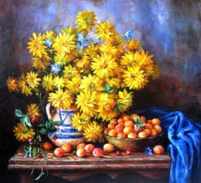 Картина натюрморт с цветами «Краски лета» купить живопись для современных интерьеров Украина