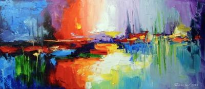 Абстрактная картина «Краски заката» купить живопись для современных интерьеров Киев