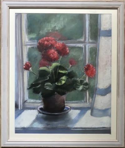 Картина цветы «Красная герань» купить картину в Киеве для современных интерьеров