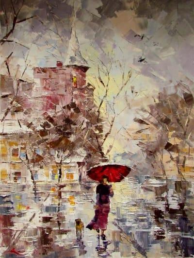 Картина «Красный зонтик»
