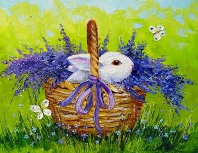 Картина детская тематика «Кролик в лаванде» купить живопись для современных интерьеров Украина