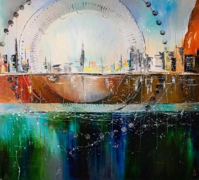 Картина маслом абстрактный городской пейзаж «Круговорот большого города» купить живопись для современных интерьеров Украина