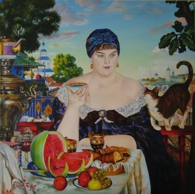 Картина копия Кустодиева «Купчиха за чаем» купить живопись для современных интерьеров Украина