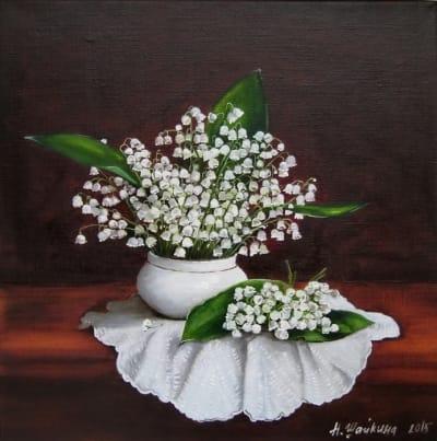 Картина цветы «Ландыши» купить живопись для современных интерьеров Украина