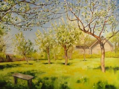 Картина «Яблоневый сад в цвету» копия Исаака Левитана