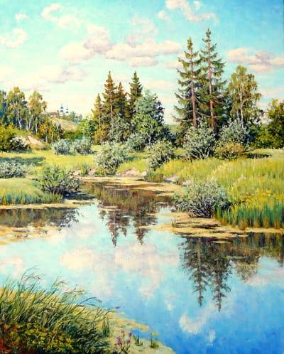 Картина «Под мирным небом», копия картины Б.Щербакова