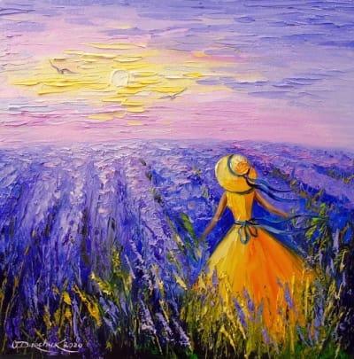 Картина маслом летний пейзаж «Лавандовые сны» купить живопись для современных интерьеров Украина