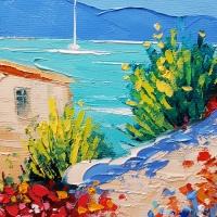 Картина маслом морской пейзаж «Летнее время» купить живопись для современных интерьеров Киев