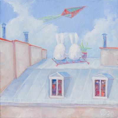 Картина детям «Летняя история среди облаков и города» купить картину маслом Киев