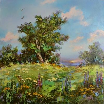Картина пейзаж «Летнее настроение» купить живопись для современных интерьеров Украина