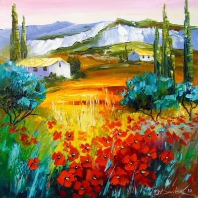 Картина маслом цветы «Летние маки у гор» купить живопись для современных интерьеров Украина